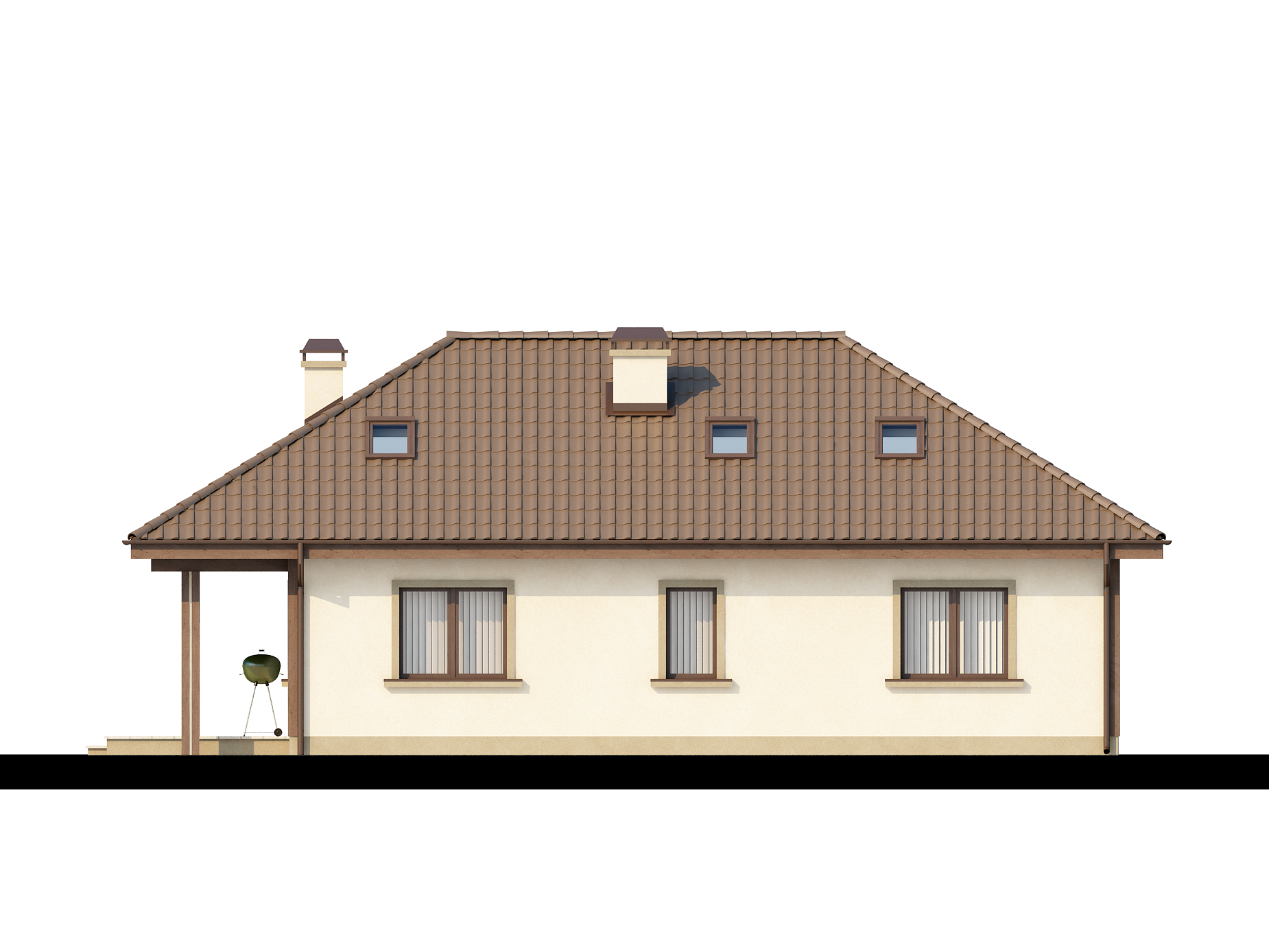 Z85 a traditional house covered with a pyramid hip roof with practical useable attic z500 - Hip roof houses attic ...
