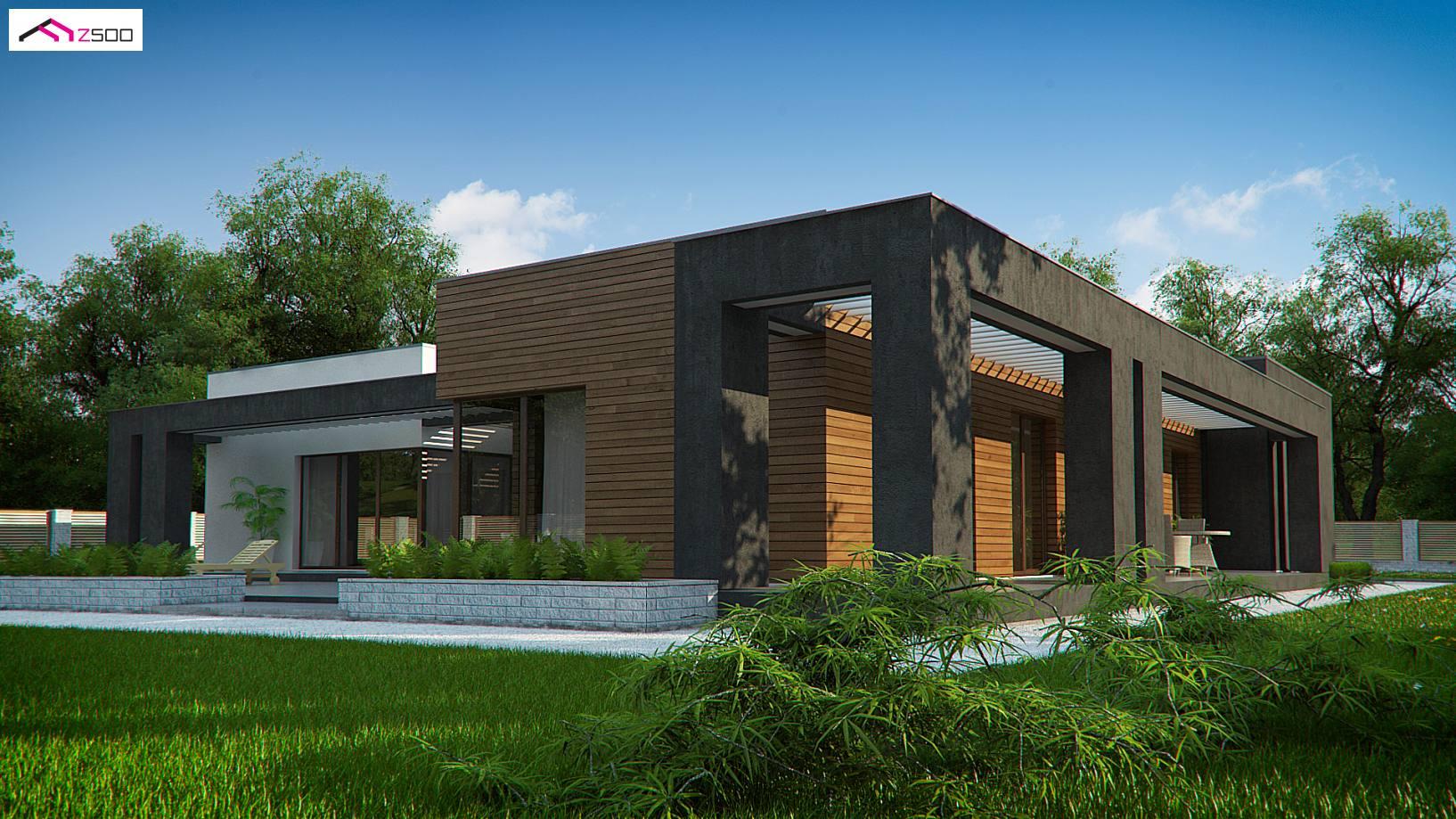 Projekt domu zx128 dom atrialny z gara em for Proyectos minimalistas
