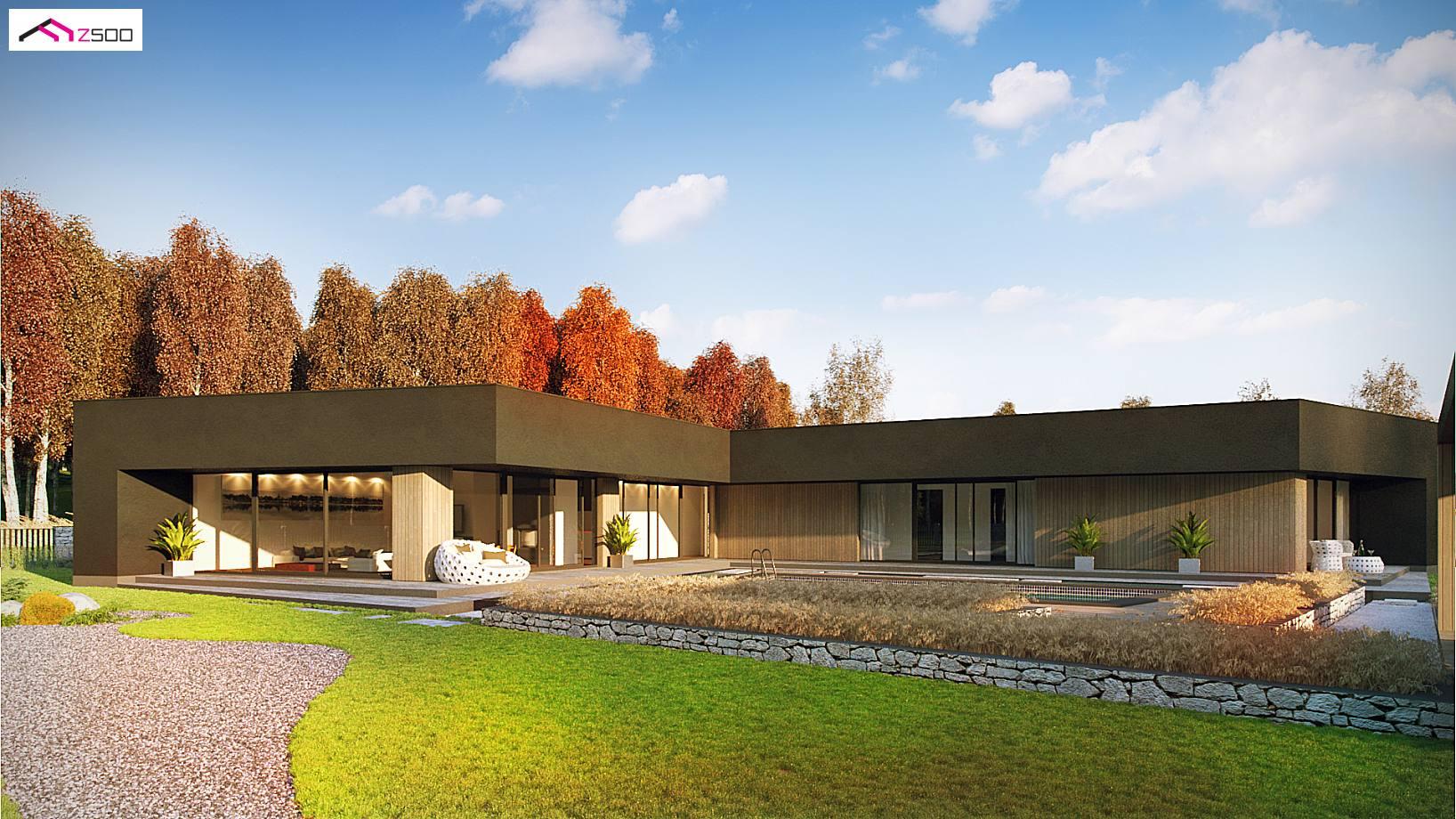 Projekt domu zx142 parterowy dom jednorodzinny z gara em for Casas minimalistas planta baja