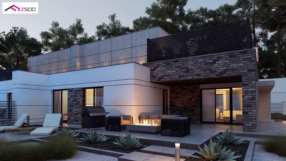 Projekt domu zb22 nowoczesny bli niak dwurodzinny z p askim dachem oraz gara em dwustanowiskowym - Fotos de casas en forma de l ...