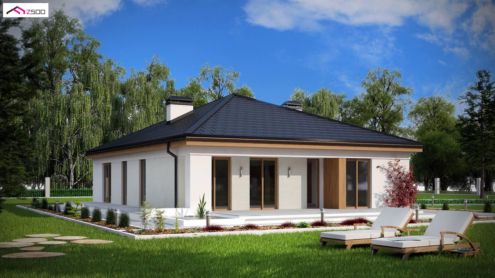 projekt domu z196 komfortowy dom parterowy z gara u017cem dwustanowiskowym i dachem kopertowym