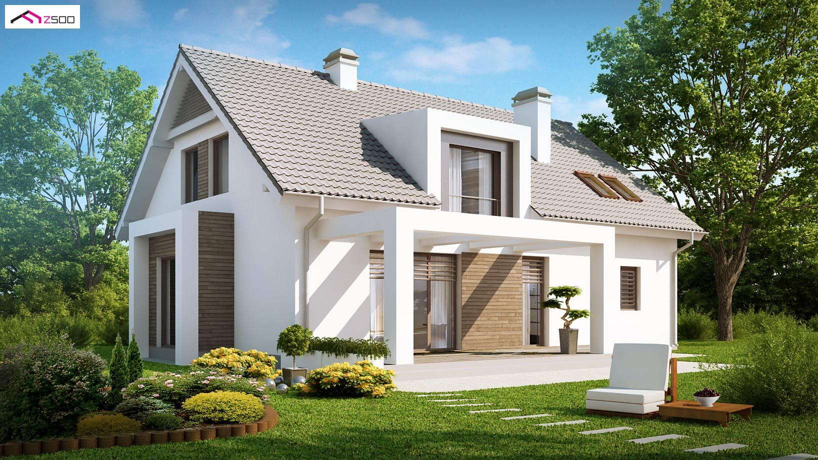 Projekt domu z236 dom z poddaszem u ytkowym nowoczesn - Casas con buhardilla ...