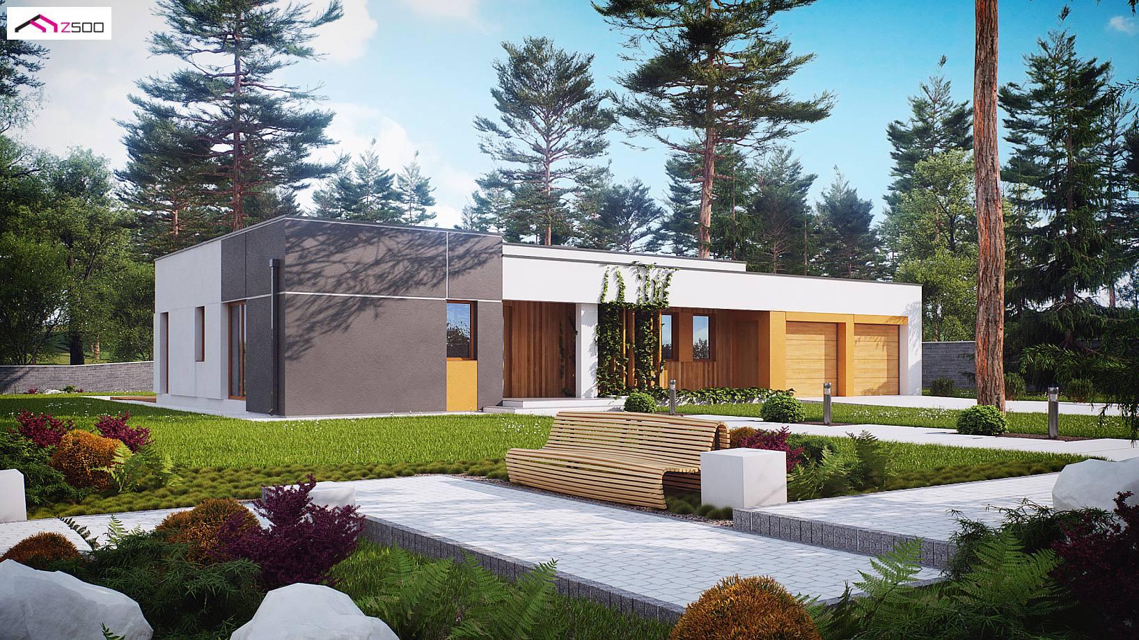 projekt domu zx102 nowoczesny dom parterowy z gara em dwustanowiskowym. Black Bedroom Furniture Sets. Home Design Ideas