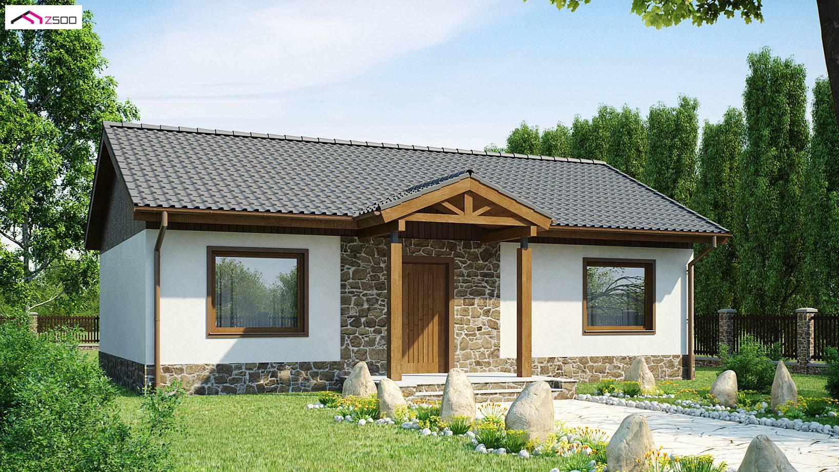 Projekt domu Z72 Tani w realizacji dom parterowy z dwoma sypialniami i obszernym pokojem dziennym.