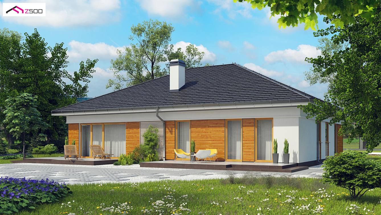 Projekt domu z303 wsp czesny parterowy dom z gara em for Modelos de chalets de una planta