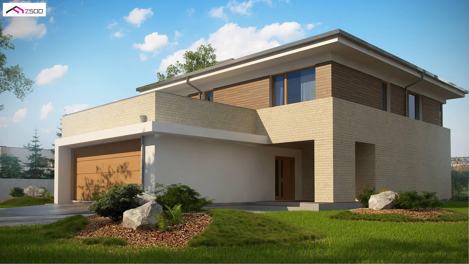 Проект современного двухэтажного дома с баней, гаражом на дв.