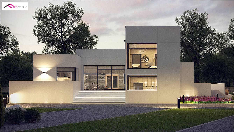 Projekt domu zx140 nowoczesny projekt z wyj tkow elewacj for Casa moderna de 50 m2