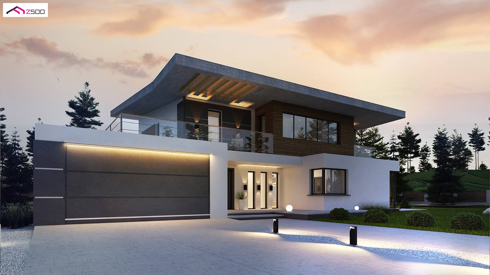 Projekt domu Zx22 Nowoczesny piętrowy dom z garażem oraz tarasem, sypialnia na parterze z łazienką