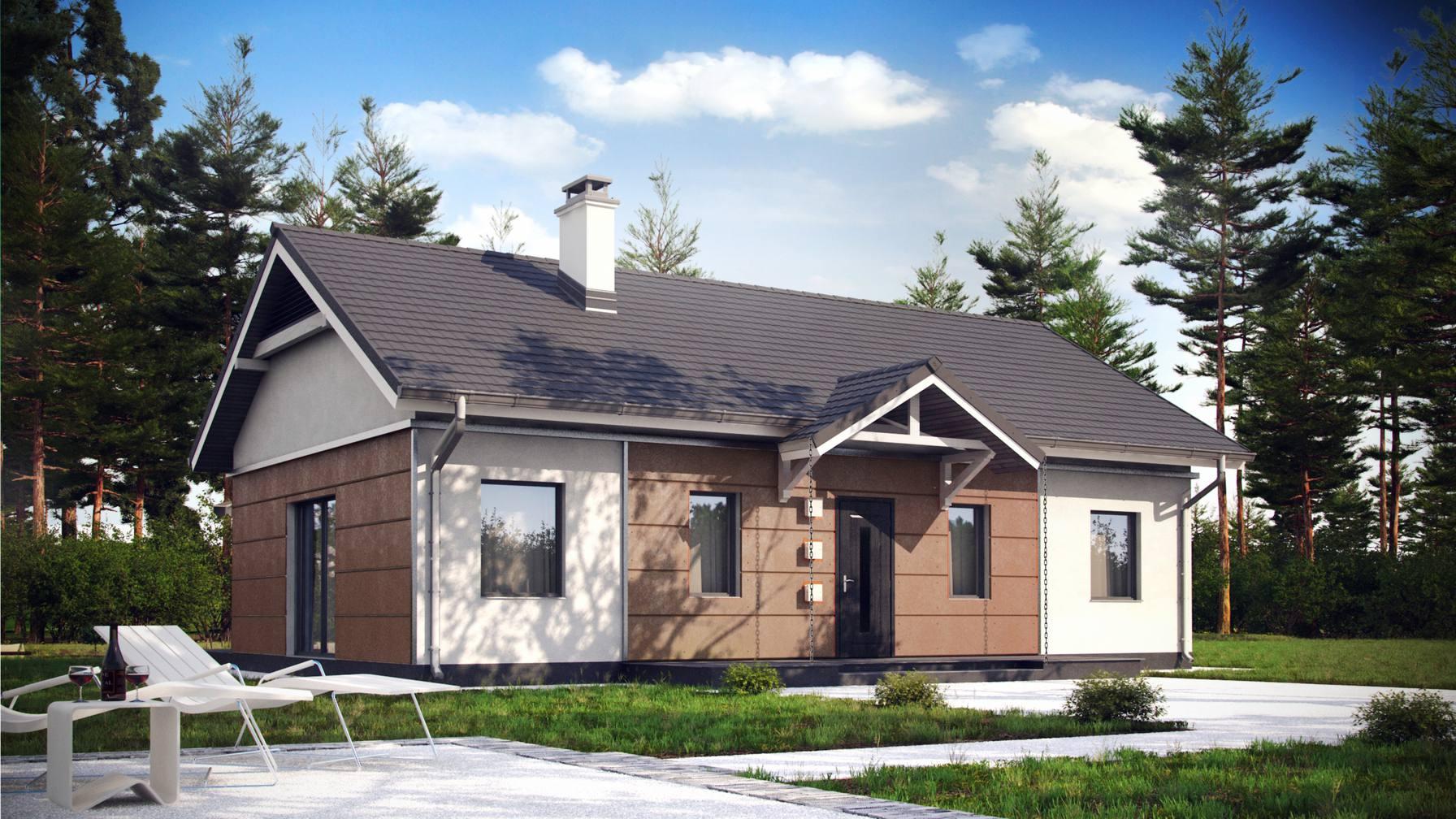 Projekt domu Z241 D Dom parterowy z dachem dwuspadowym. Tani w ...